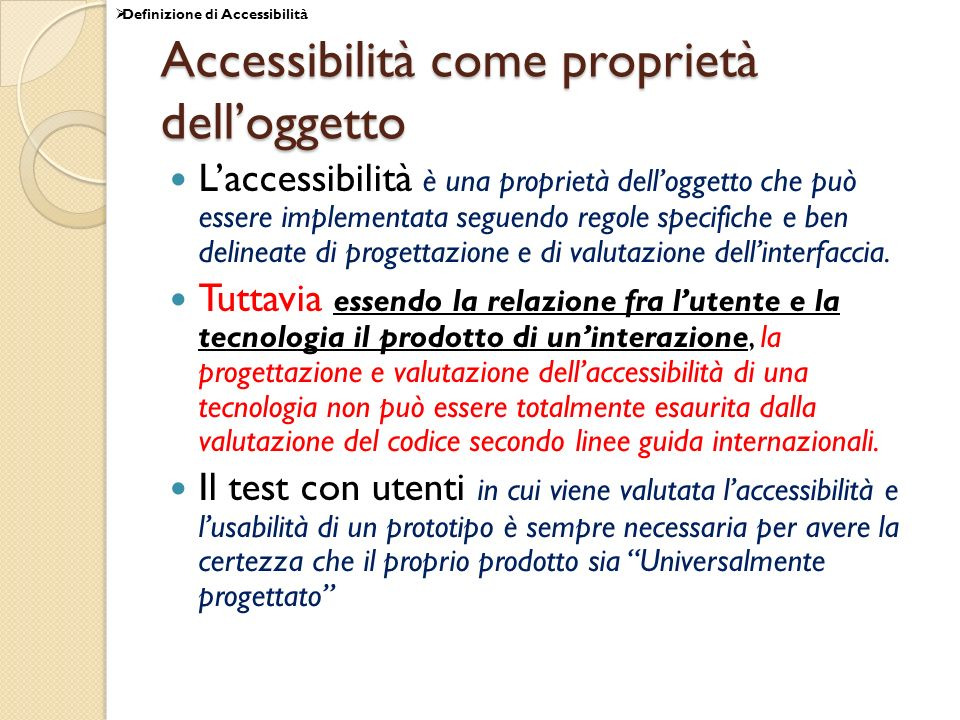 Accessibilità come proprietà dell'oggetto
