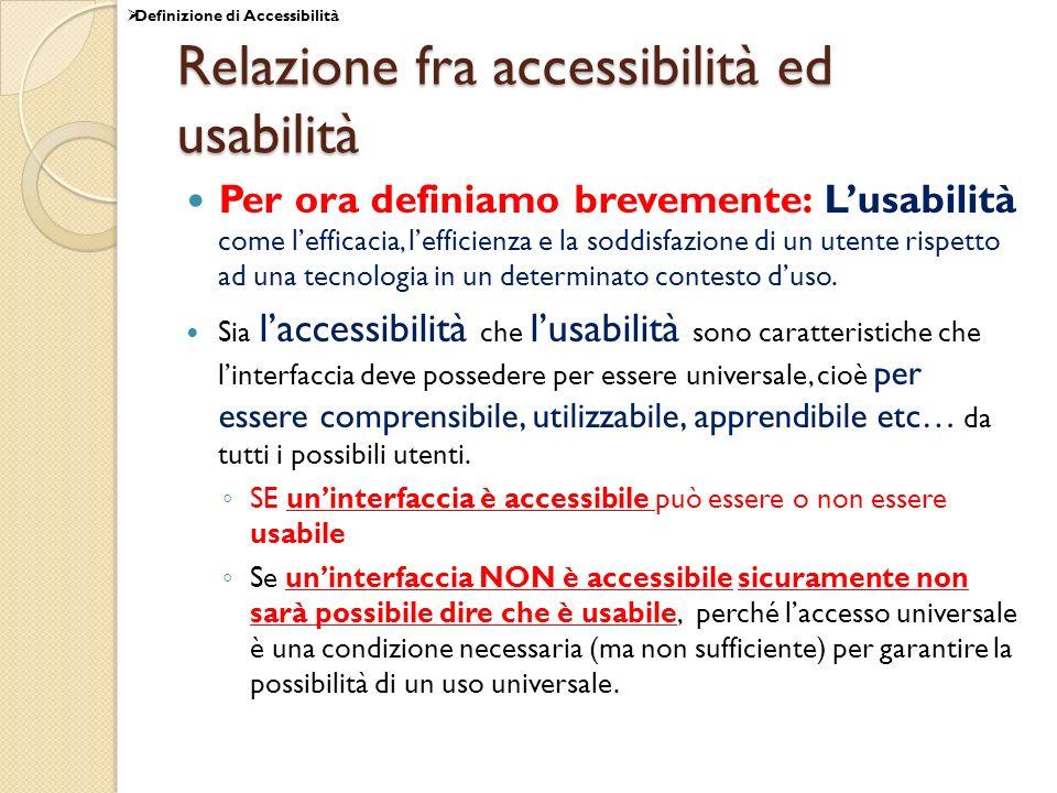 Relazione fra accessibilità ed usabilità