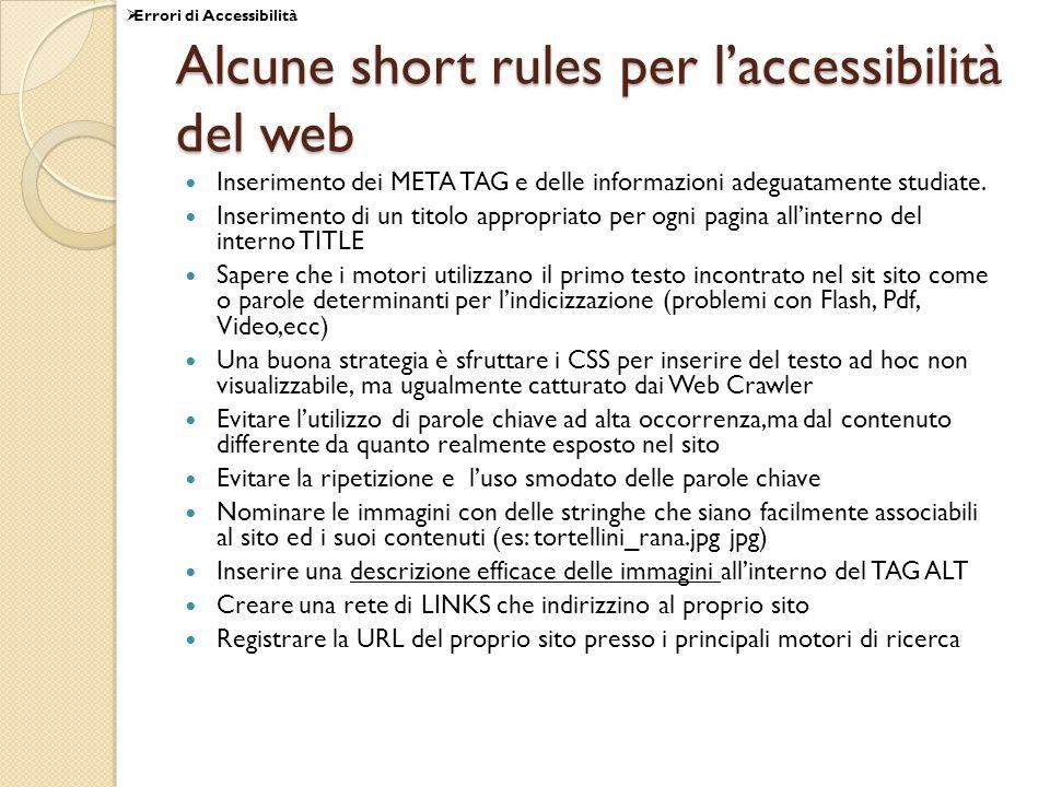Alcune short rules per l'accessibilità del web