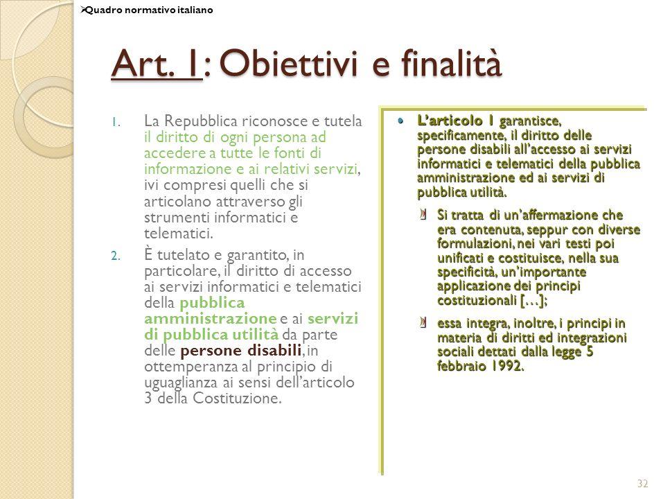 Art. 1: Obiettivi e finalità