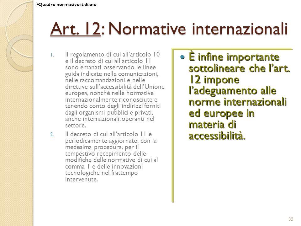 Art. 12: Normative internazionali