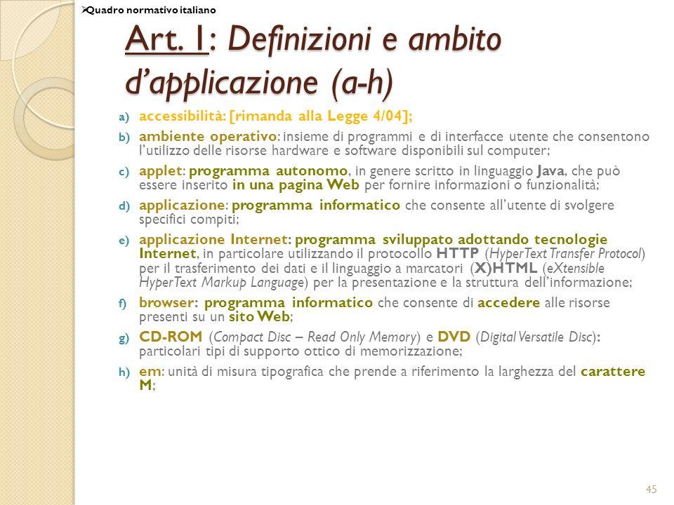 Art. 1: Definizioni e ambito d'applicazione (a-h)