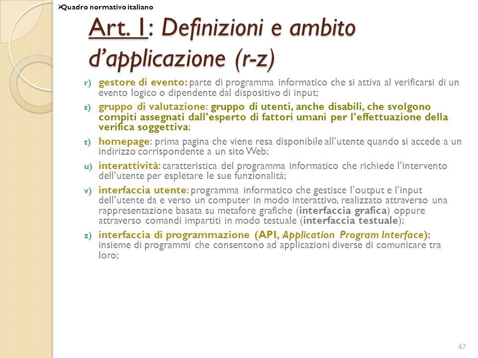Art. 1: Definizioni e ambito d'applicazione (r-z)