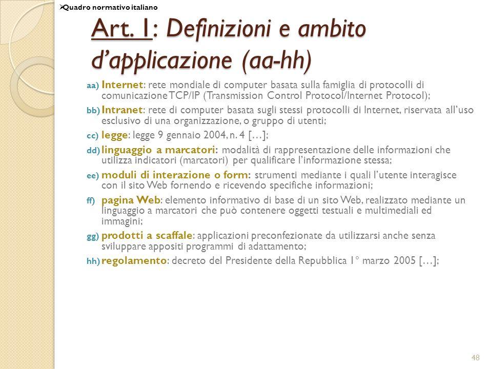 Art. 1: Definizioni e ambito d'applicazione (aa-hh)