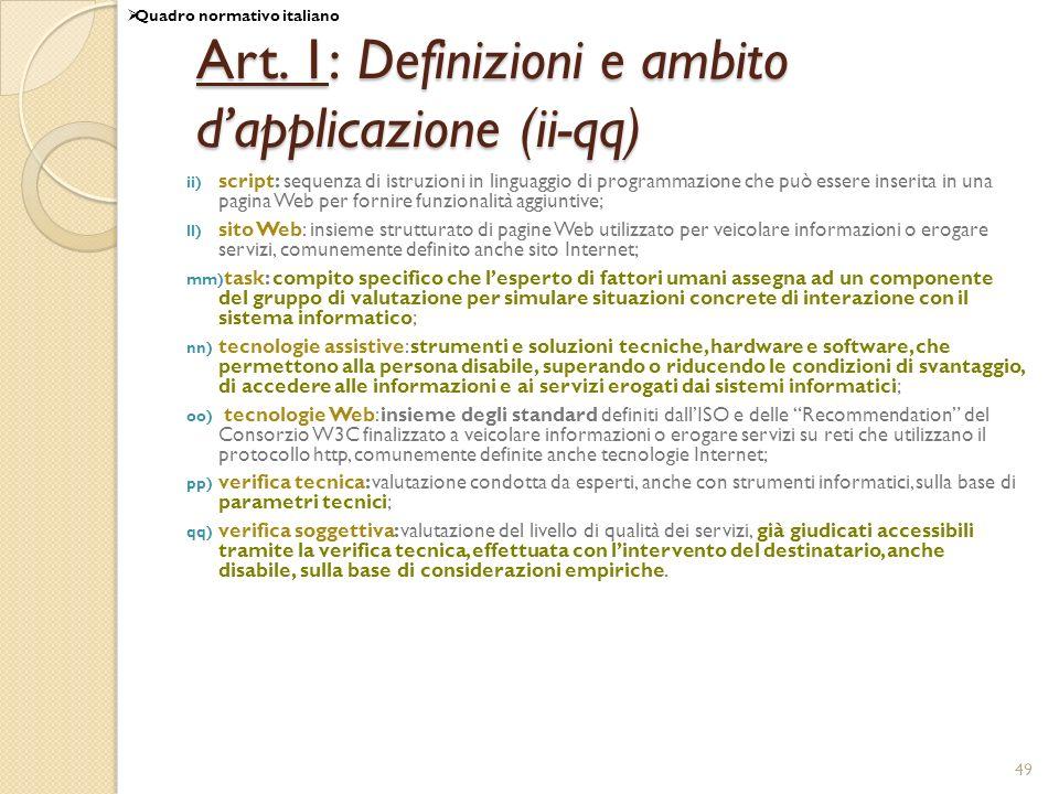 Art. 1: Definizioni e ambito d'applicazione (ii-qq)