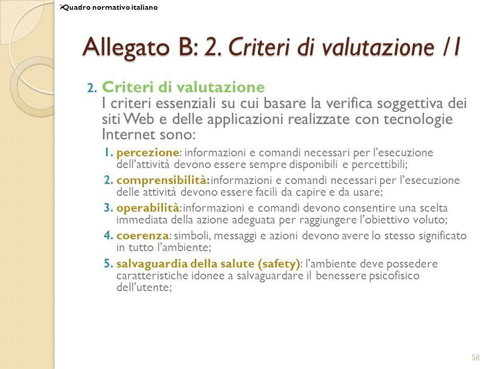 Allegato B: 2. Criteri di valutazione /1