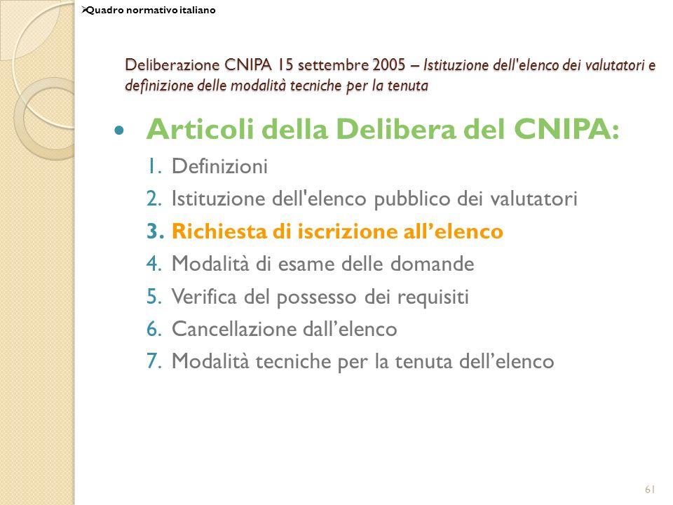 Articoli della Delibera del CNIPA: