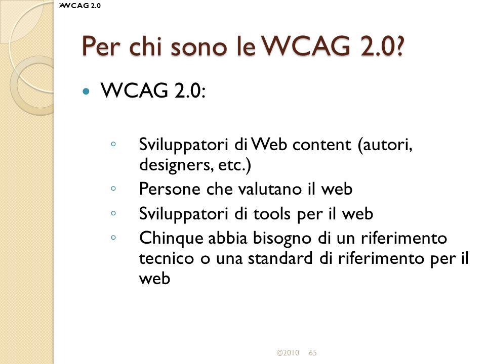 Per chi sono le WCAG 2.0 WCAG 2.0: