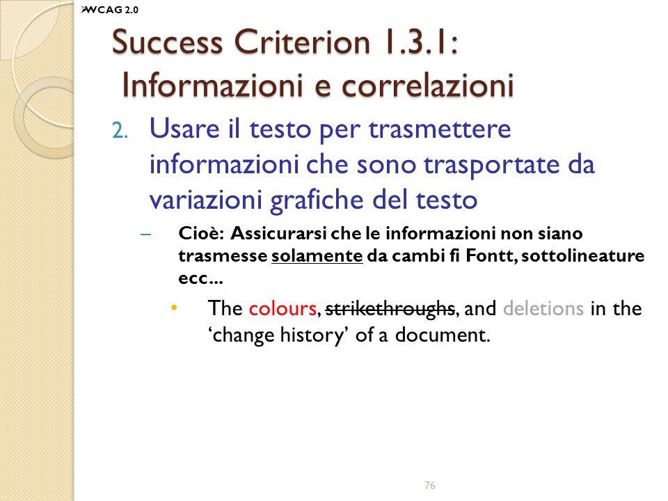 Success Criterion 1.3.1: Informazioni e correlazioni