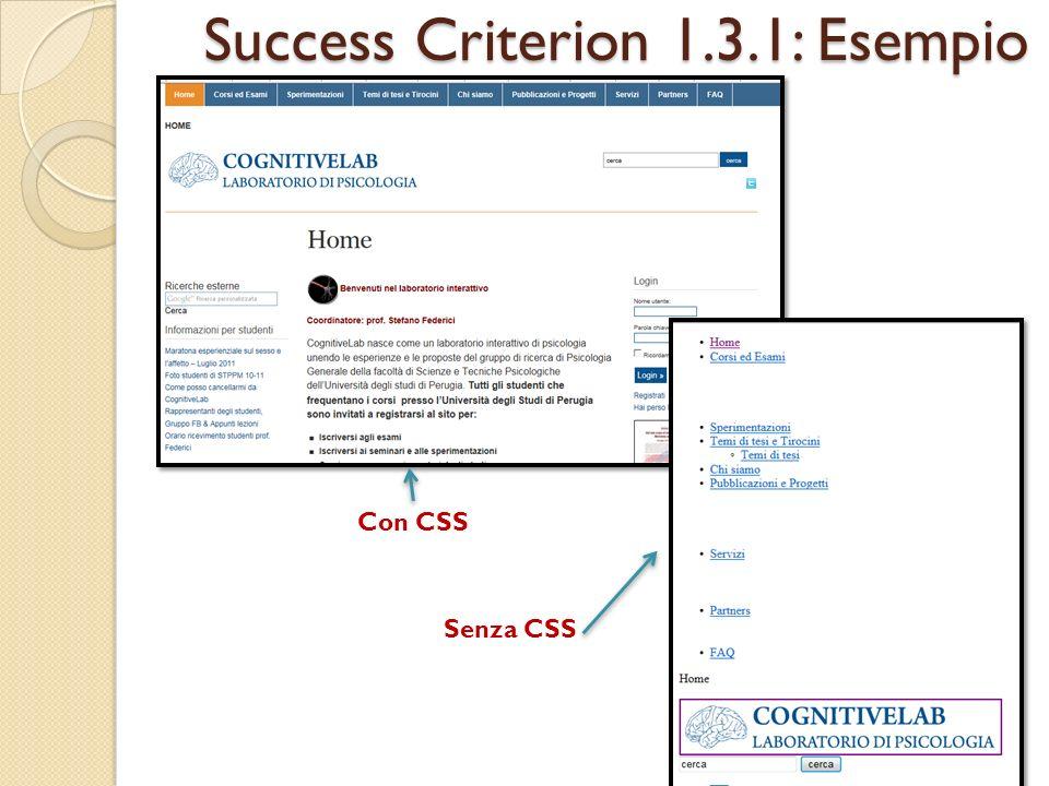 Success Criterion 1.3.1: Esempio