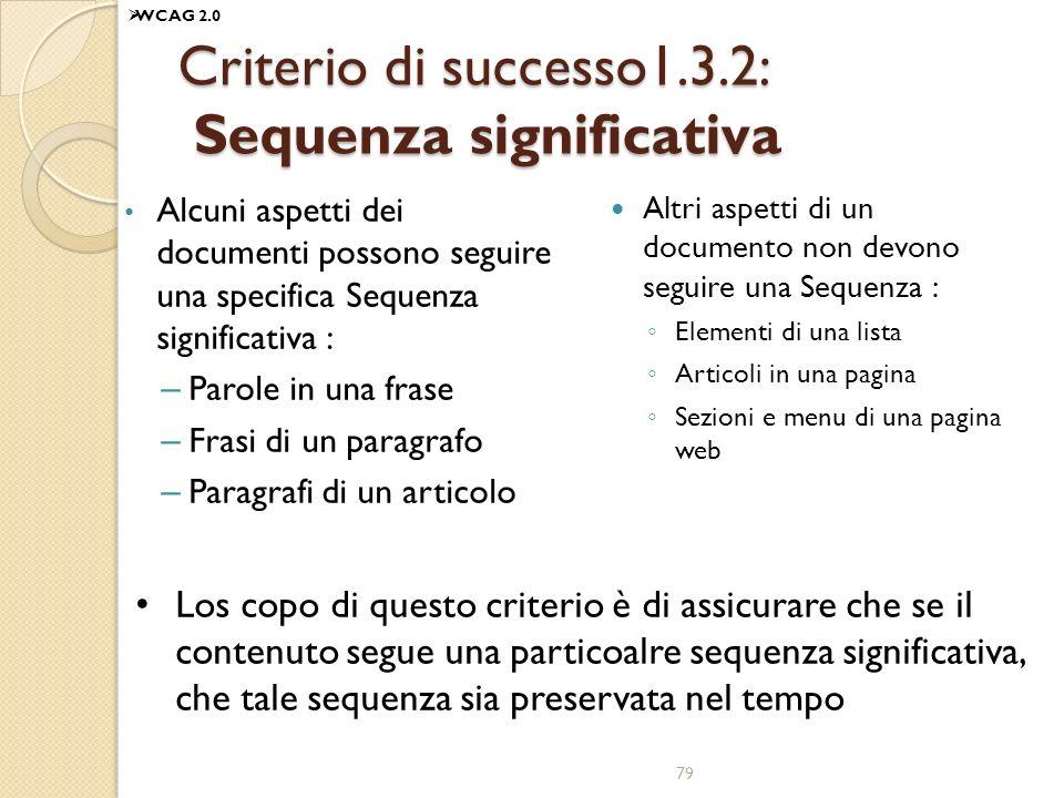 Criterio di successo1.3.2: Sequenza significativa
