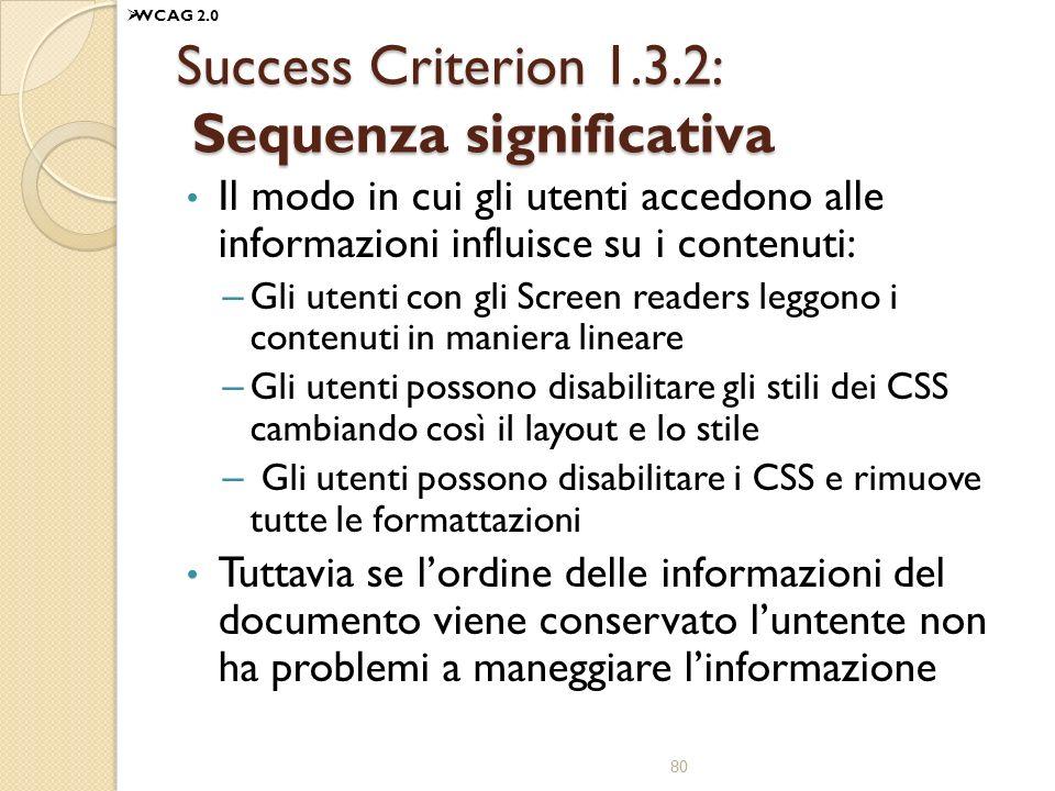 Success Criterion 1.3.2: Sequenza significativa