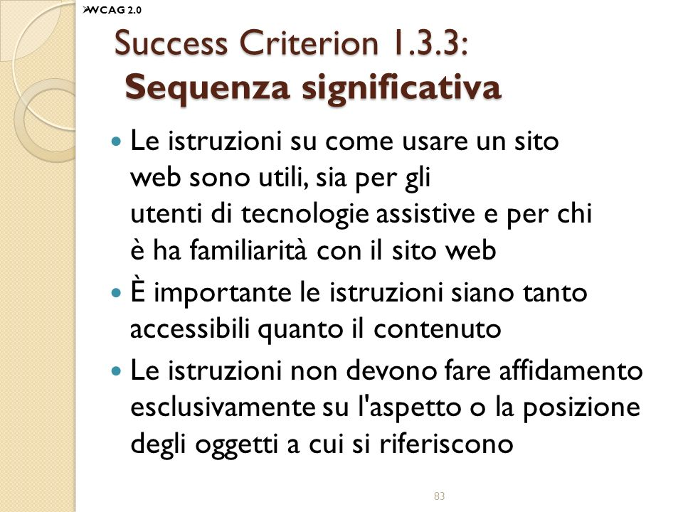 Success Criterion 1.3.3: Sequenza significativa