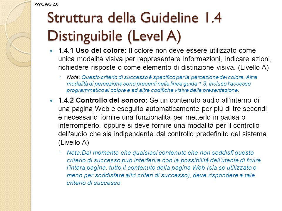 Struttura della Guideline 1.4 Distinguibile (Level A)
