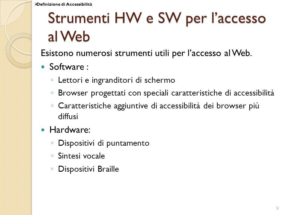 Strumenti HW e SW per l'accesso al Web