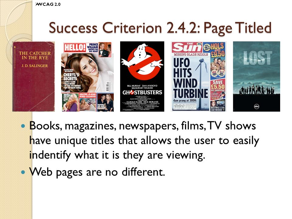 Success Criterion 2.4.2: Page Titled