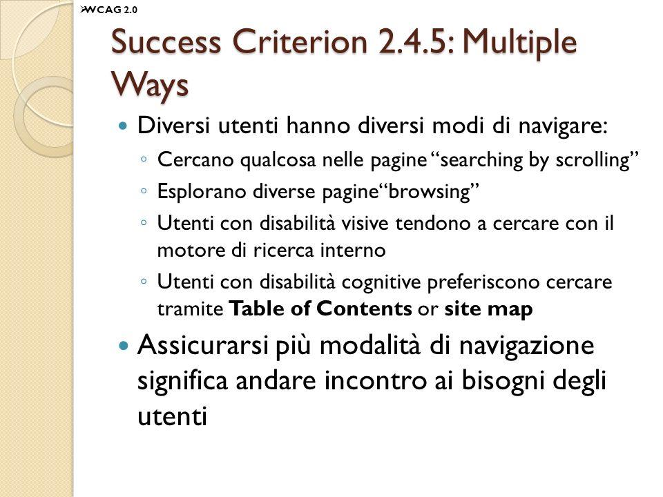 Success Criterion 2.4.5: Multiple Ways