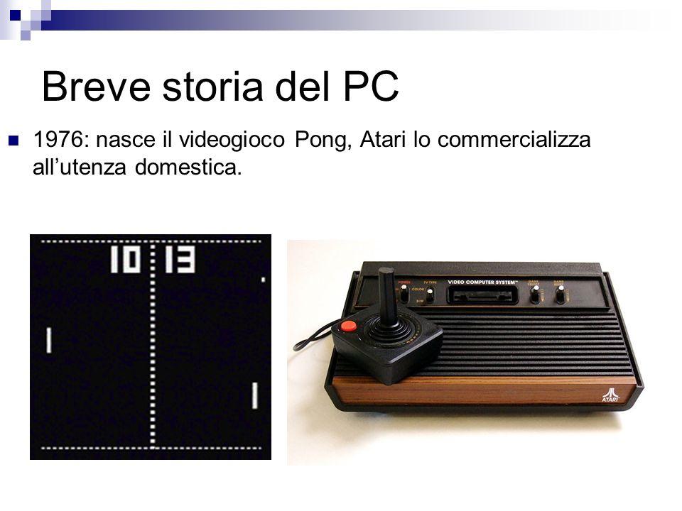 Breve storia del PC 1976: nasce il videogioco Pong, Atari lo commercializza all'utenza domestica.