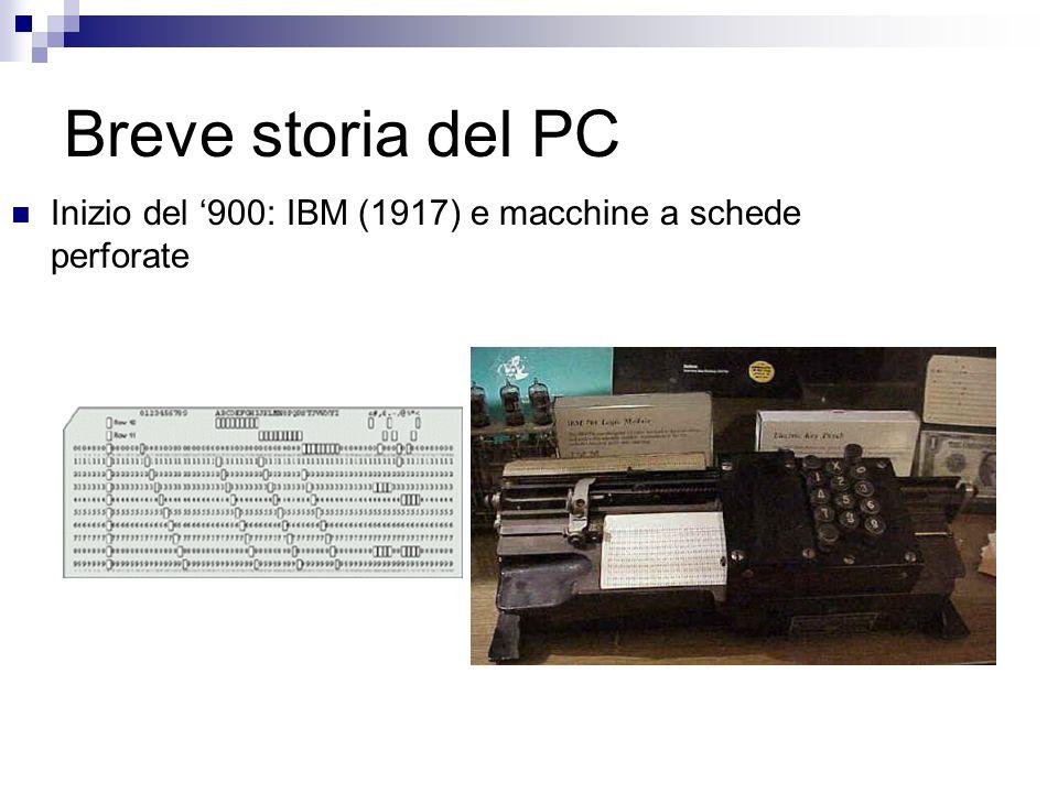 Breve storia del PC Inizio del '900: IBM (1917) e macchine a schede perforate