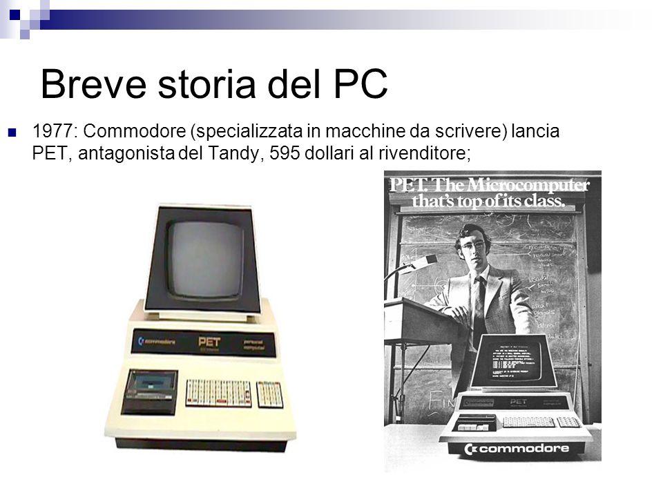 Breve storia del PC 1977: Commodore (specializzata in macchine da scrivere) lancia PET, antagonista del Tandy, 595 dollari al rivenditore;