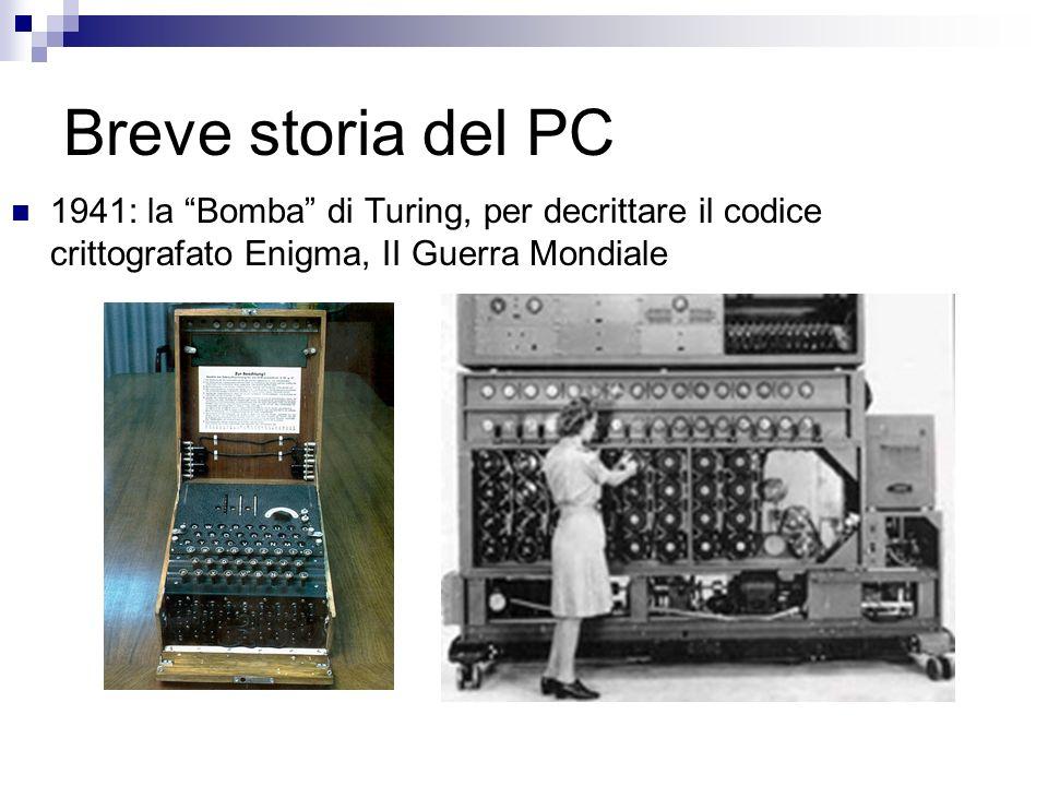 Breve storia del PC 1941: la Bomba di Turing, per decrittare il codice crittografato Enigma, II Guerra Mondiale.