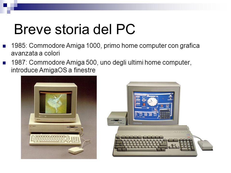 Breve storia del PC 1985: Commodore Amiga 1000, primo home computer con grafica avanzata a colori.