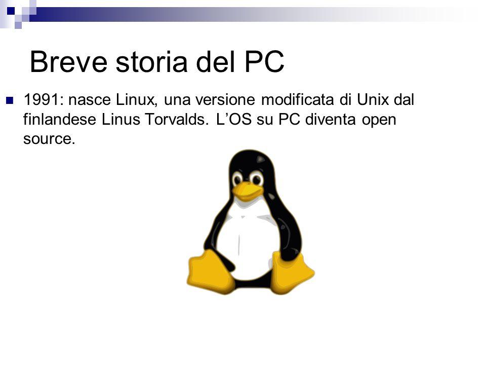 Breve storia del PC 1991: nasce Linux, una versione modificata di Unix dal finlandese Linus Torvalds.