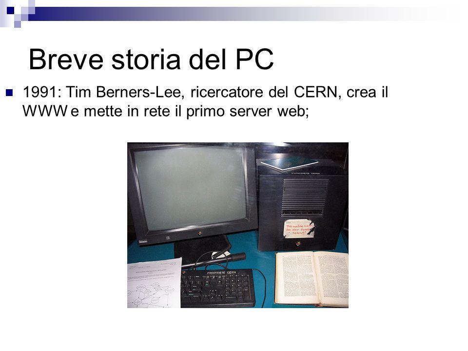 Breve storia del PC 1991: Tim Berners-Lee, ricercatore del CERN, crea il WWW e mette in rete il primo server web;