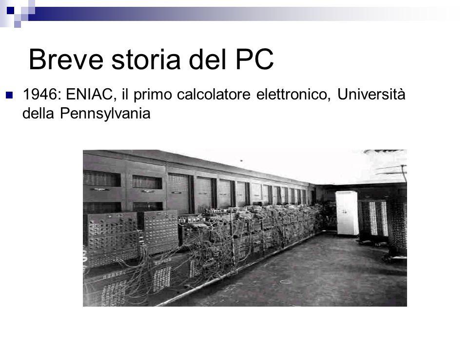 Breve storia del PC 1946: ENIAC, il primo calcolatore elettronico, Università della Pennsylvania