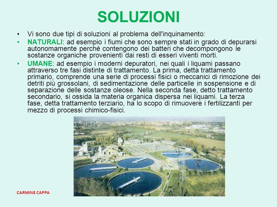 SOLUZIONI Vi sono due tipi di soluzioni al problema dell inquinamento: