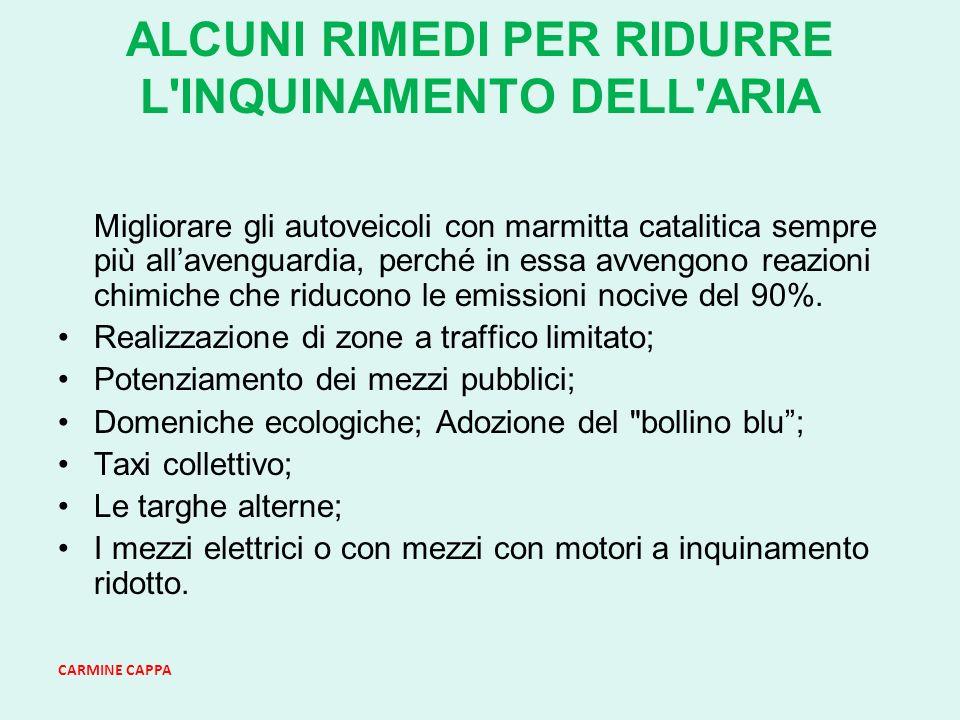 ALCUNI RIMEDI PER RIDURRE L INQUINAMENTO DELL ARIA