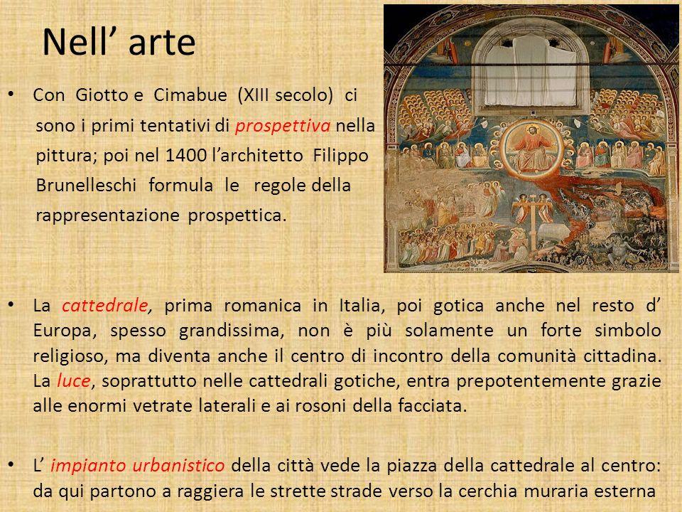 Nell' arte Con Giotto e Cimabue (XIII secolo) ci