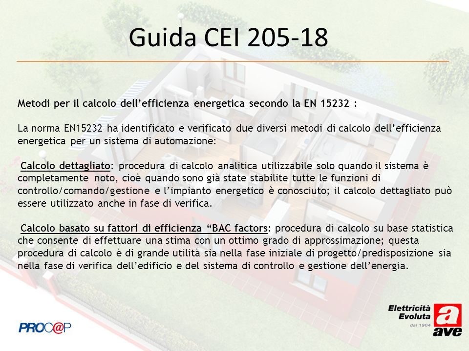 Guida CEI 205-18 Metodi per il calcolo dell'efficienza energetica secondo la EN 15232 :