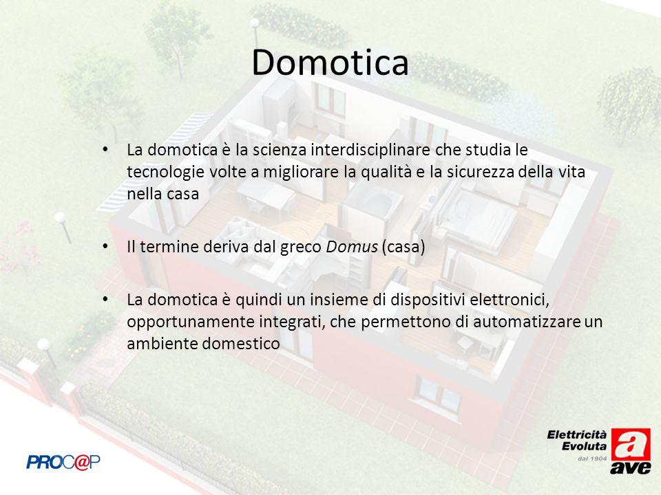Domotica La domotica è la scienza interdisciplinare che studia le tecnologie volte a migliorare la qualità e la sicurezza della vita nella casa.