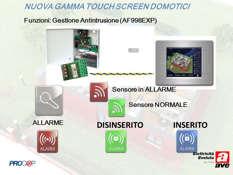 DISINSERITO INSERITO NUOVA GAMMA TOUCH SCREEN DOMOTICI