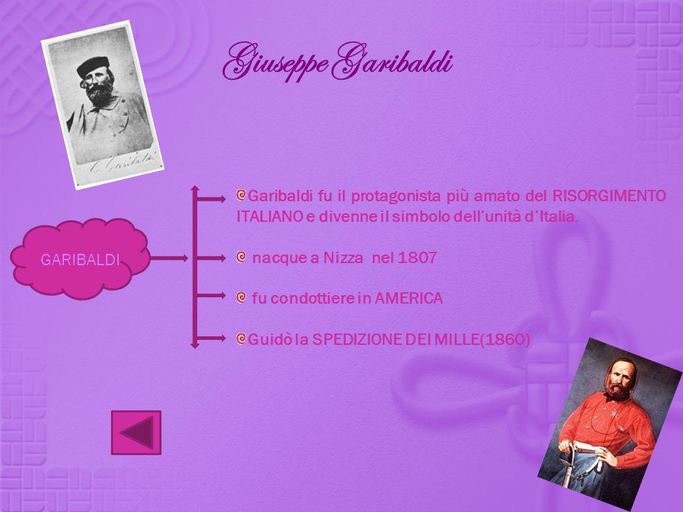 Giuseppe Garibaldi Garibaldi fu il protagonista più amato del RISORGIMENTO ITALIANO e divenne il simbolo dell'unità d'Italia.