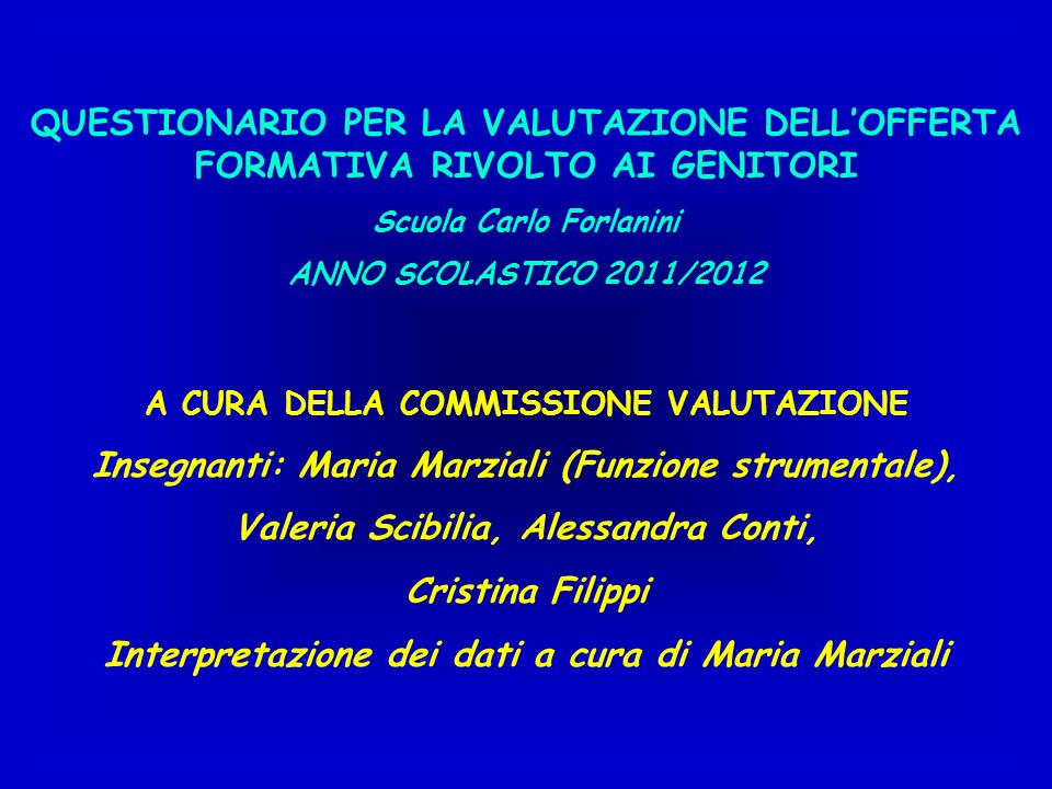 Insegnanti: Maria Marziali (Funzione strumentale),