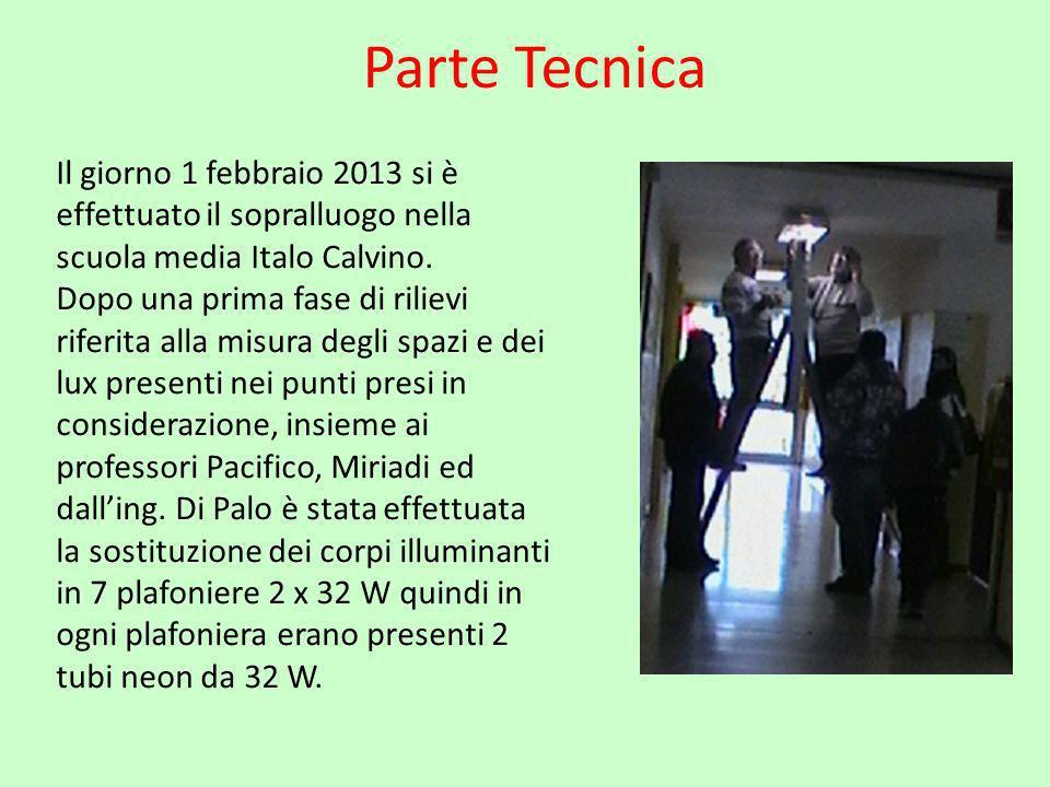 Parte Tecnica Il giorno 1 febbraio 2013 si è effettuato il sopralluogo nella scuola media Italo Calvino.