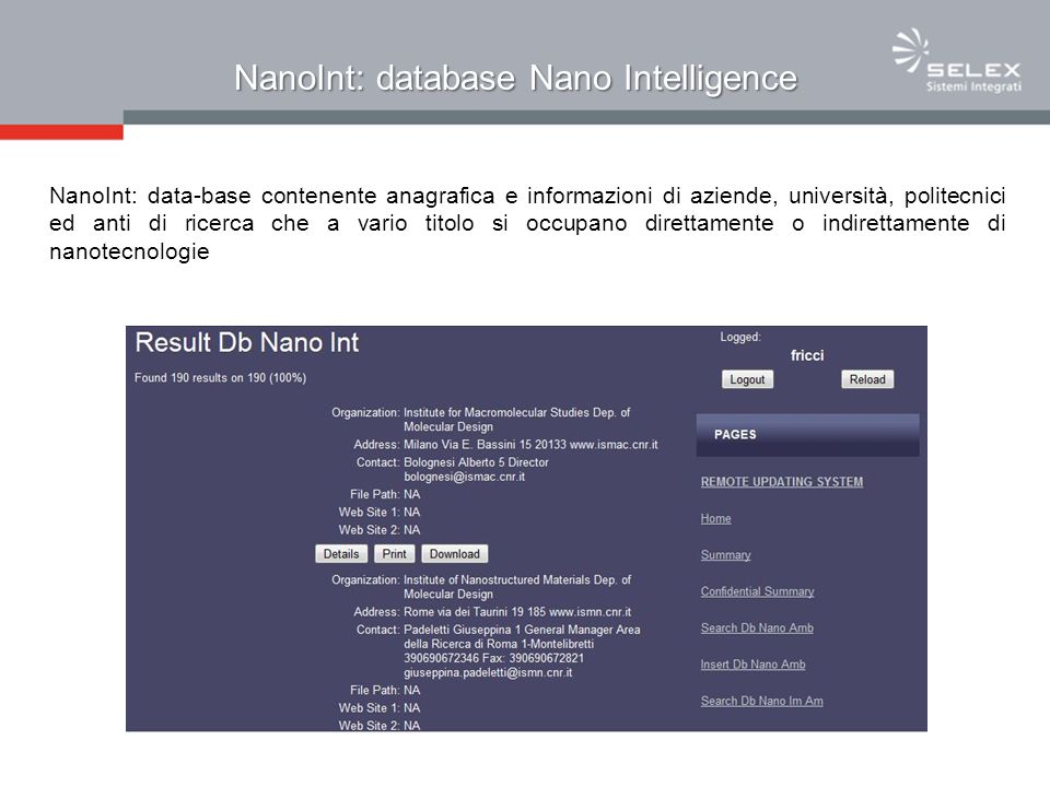 NanoInt: database Nano Intelligence