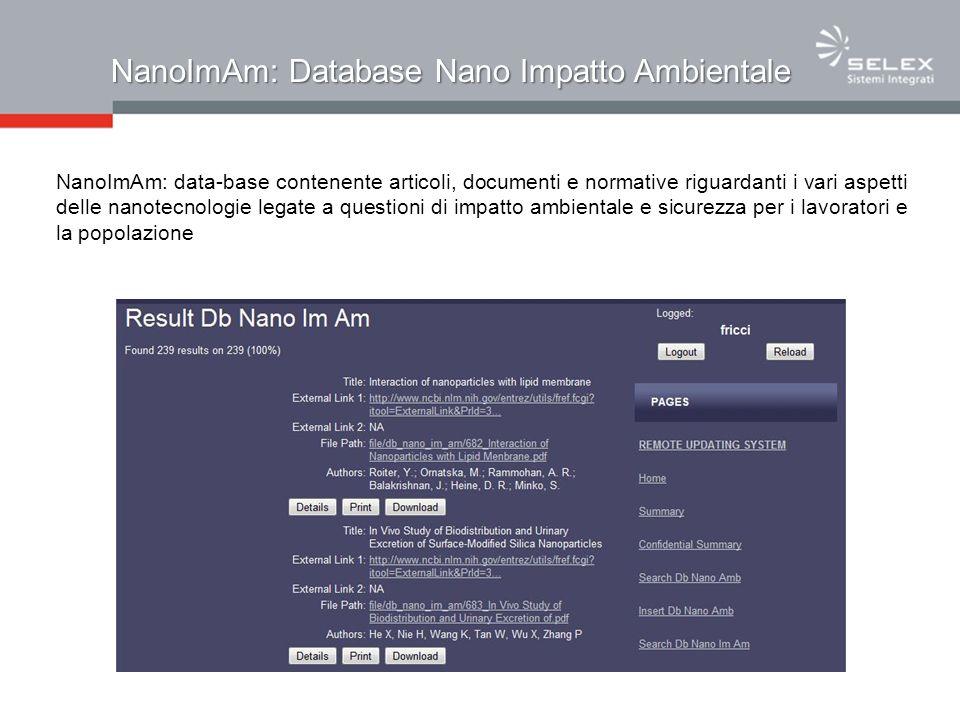 NanoImAm: Database Nano Impatto Ambientale