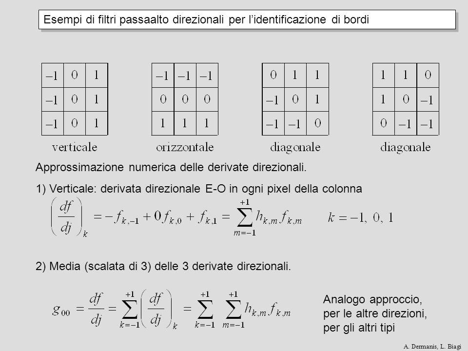 Esempi di filtri passaalto direzionali per l'identificazione di bordi