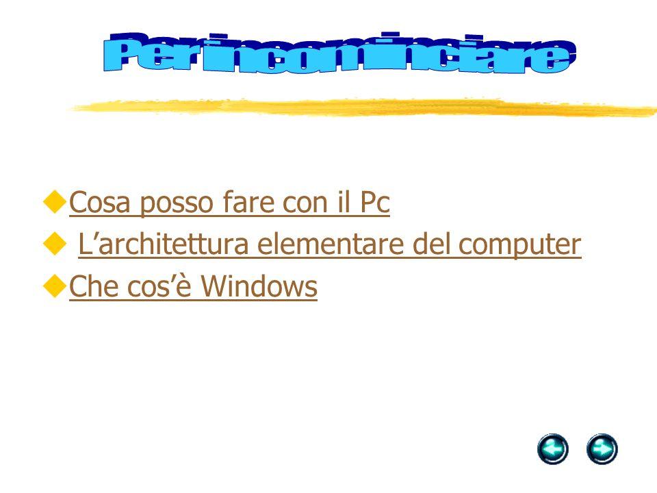 Cosa posso fare con il Pc L'architettura elementare del computer