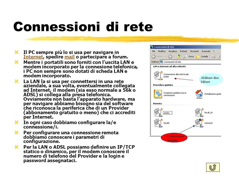 Connessioni di rete Il PC sempre più lo si usa per navigare in Internet, spedire mail o partecipare a forum.