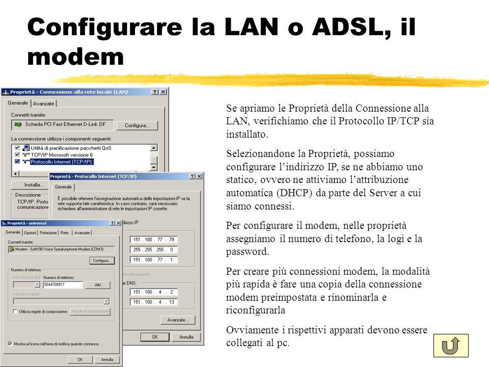 Configurare la LAN o ADSL, il modem