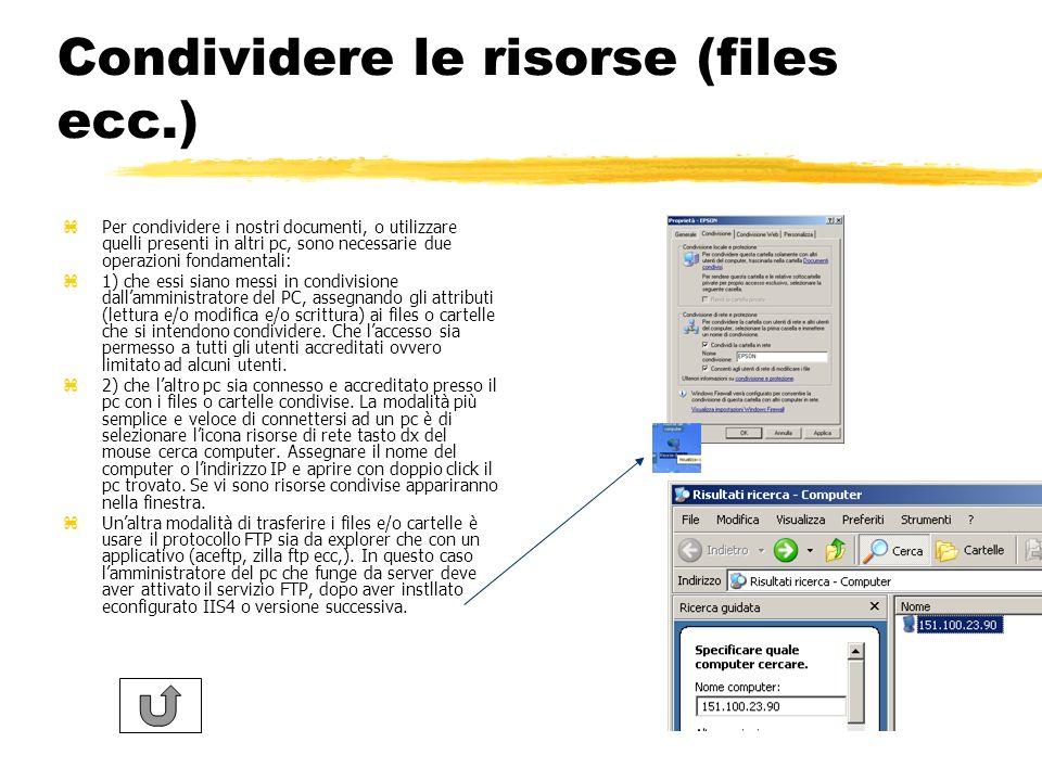 Condividere le risorse (files ecc.)
