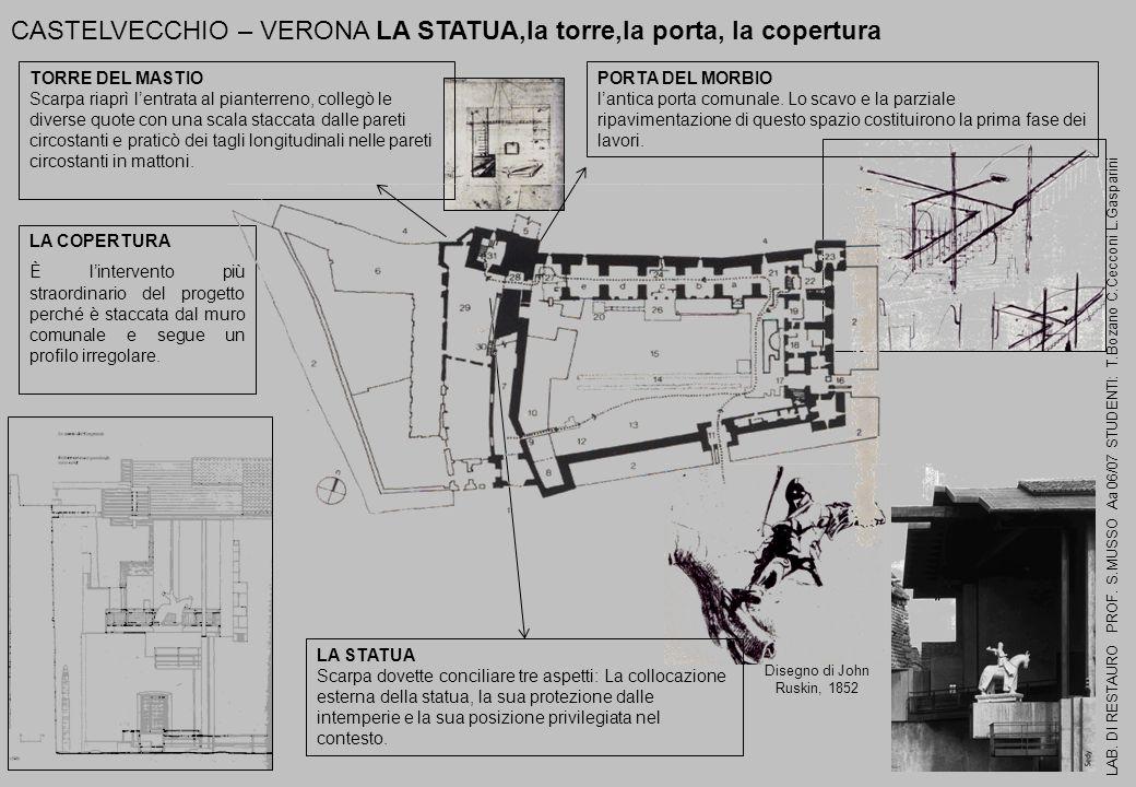 CASTELVECCHIO – VERONA LA STATUA,la torre,la porta, la copertura