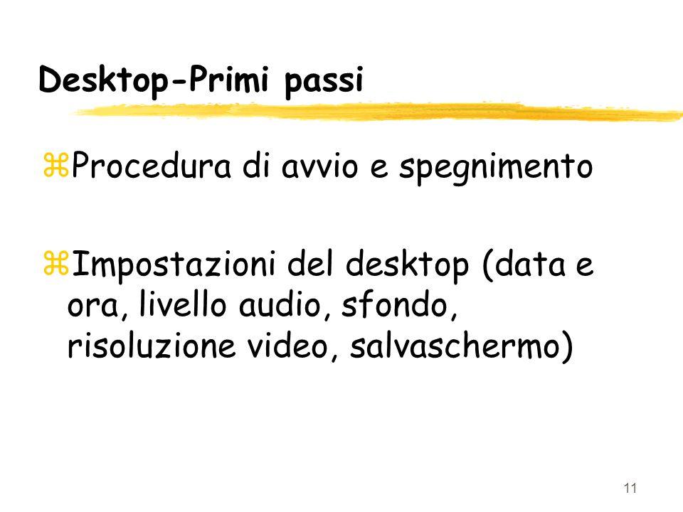 Desktop-Primi passi Procedura di avvio e spegnimento.