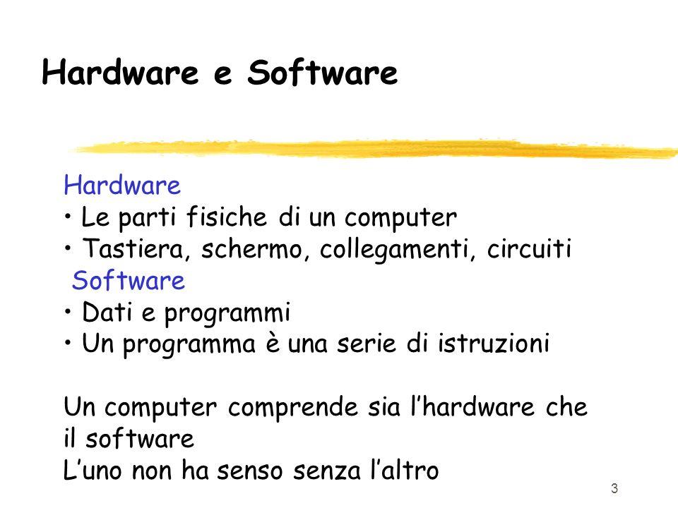 Hardware e Software Hardware • Le parti fisiche di un computer