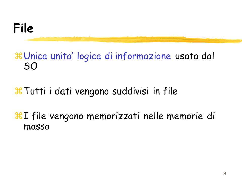 File Unica unita' logica di informazione usata dal SO