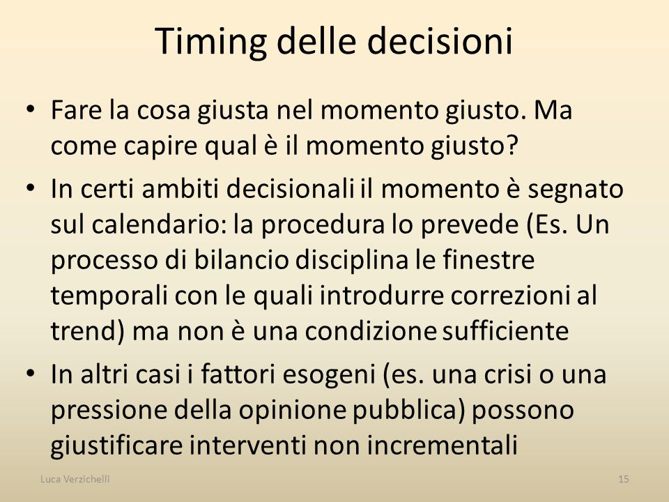 Timing delle decisioni